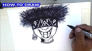 How to draw a crazy character so cool - graffiti character (HD)