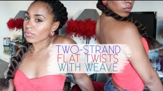 getlinkyoutube.com-Two-Strand Flat Twists with Weave - MsAriella89