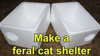 getlinkyoutube.com-Make an extra-large feral cat shelter from styrofoam coolers