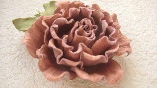 getlinkyoutube.com-Мастер-класс цветы из кожи. Брошь-заколка Роза.