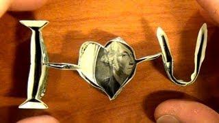 getlinkyoutube.com-Origami $1 dollar I love U