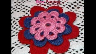 getlinkyoutube.com-كروشيه ورده سهله بمقاسات مختلفه \خيط وابره\\Crocheted flower easy in different sizes