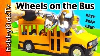 getlinkyoutube.com-Wheels on the Bus SONG subtitled and lyrics All Through the Town Toy Bus by HobbyKidsTV