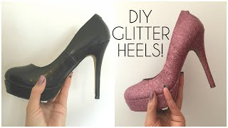getlinkyoutube.com-DIY Glitter Shoes/ Heels! | Prom, Party shoes ♡