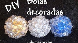 getlinkyoutube.com-Diy. Esferas recicladas o bolas decoradas para navidad