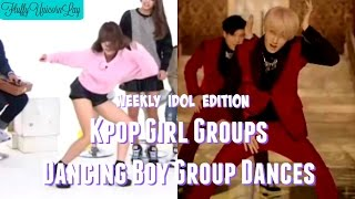 getlinkyoutube.com-Kpop Girl Groups Dancing Boy Group Dances || WEEKLY IDOL EDITION