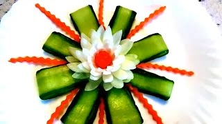HOW TO MAKE ONION FLOWER ART - CUCUMBER GARNISH - CARROT DESIGN & VEGETABLE CARVING ONION DECORATION
