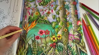 getlinkyoutube.com-Magical Jungle: Tropical Paradise - Part 2 | Adult Coloring Book by Johanna Basford