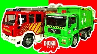 getlinkyoutube.com-Dickie Toys Fire Engine Garbage Truck Train Lightning McQueen Toy Crash Testing Mega Review