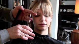 getlinkyoutube.com-Model Tutorial: How to trim a fringe (bangs) the professional way!   A Model Recommends