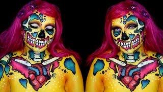 getlinkyoutube.com-Neon Pop Art Zombie Makeup Tutorial
