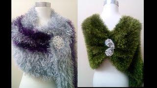 getlinkyoutube.com-كروشيه طريقه عمل شال مستطيل بخيط الشعربفكره جميله  Rectangular crocheted shawl