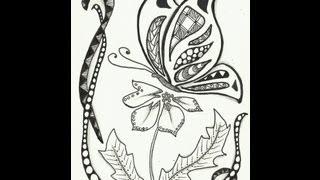 getlinkyoutube.com-Simple Zentangle Butterfly