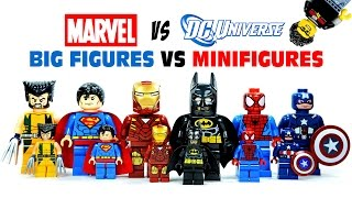 getlinkyoutube.com-LEGO DC vs Marvel Superheroes Big Figures vs Minifigures KnockOffs w/ Batman & Spiderman
