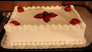 getlinkyoutube.com-White sheet cake decoration