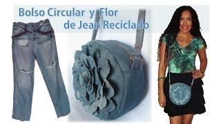 getlinkyoutube.com-Bolso Circular y Flor - de Jean Reciclado - Tutorial de SANDRA PADILLA