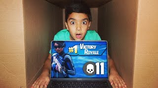 MAILING MY 5 YEAR OLD LITTLE BROTHER IN A CARDBOARD BOX WHILE PLAYING FORTNITE!   MAILING CHALLENGE
