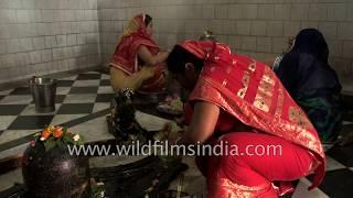Bihari women worship Lord Shiva in a temple in Darbhanga