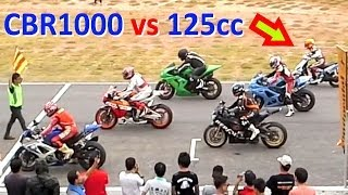 getlinkyoutube.com-CBR 1000 vs 125cc SCOOTER ! Racing on a track