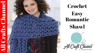 getlinkyoutube.com-How to crochet romantic lacy shawl - easy/beginner level / shawl en crochet