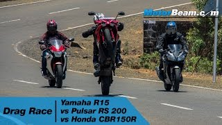 getlinkyoutube.com-Yamaha R15 vs Pulsar RS 200 vs Honda CBR150R - Drag Race | MotorBeam
