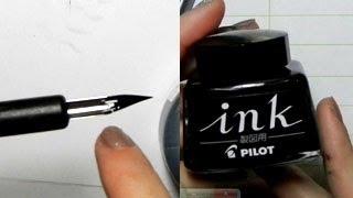 getlinkyoutube.com-Ink Tutorial: G-Pens, Maru Pens, Pilot Ink, Kaimei Ink, Deleter Ink
