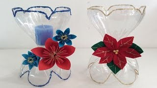 getlinkyoutube.com-PORTA VELAS  CON BOTELLAS DE COCA COLA. DECORACIONES NAVIDEÑAS,  CHRISTMAS DECORATIONS.