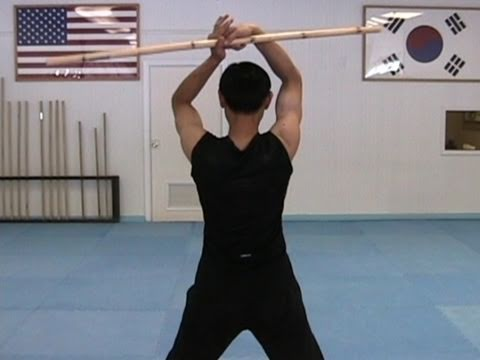 Martial Arts Bo Staff Techniques # 4 : Back Spinning Movement (taekwonwoo)