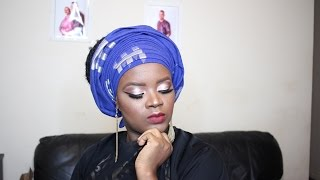 getlinkyoutube.com-HOW TO TIE A ROUND NIGERIAN GELE WITH PLEATS | African Wedding | Kim Courage