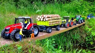 getlinkyoutube.com-BRUDER TOYS MASSEY FERGUSON 7624 RC Tractor Forestry trailer