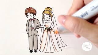 getlinkyoutube.com-วาดเจ้าบ่าวเจ้าสาว คู่แต่งงานแสนน่ารัก How to draw bride and groom