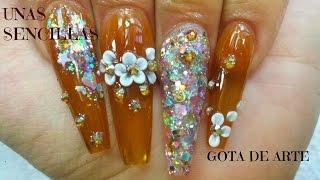 getlinkyoutube.com-Uñas sencillas champagne / gota de arte / luliz nails