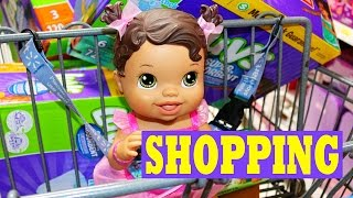 getlinkyoutube.com-Baby Alive GOES SHOPPING Baby Alive Doll Buys Diapers Baby Food Toys Clothes & Eats Ice Cream