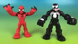 getlinkyoutube.com-Spider Man vs Venom Super Heroes toys friends with Captain America Hulk Thor Iron Man
