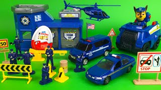 getlinkyoutube.com-Motor Max police station playset with police cars and Paw Patrol Chase and Disney Olaf the snowman