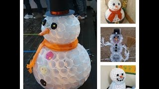 getlinkyoutube.com-Schneemann aus Plastikbechern ⛄️I DIY I Fail!!!!!