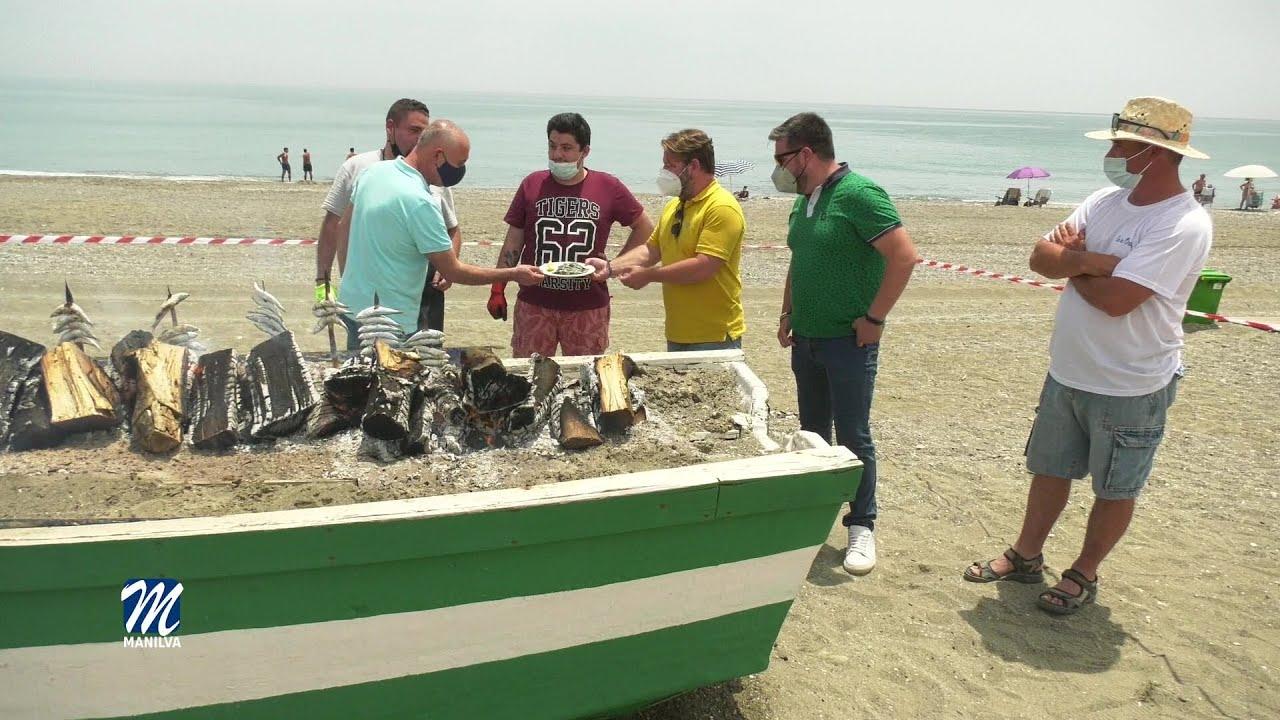 Degustación de las sardinas espetadas por los alumnos del curso