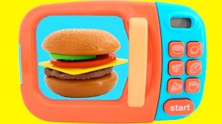 getlinkyoutube.com-Toy Microwave Hamburger Playset Play Doh Learn Fruits & Vegetables with Velcro Toys for Kids