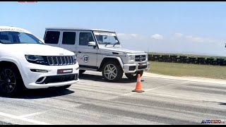 getlinkyoutube.com-DRAG RACE: Jeep Grand Cherokee SRT8 vs. Mercedes-Benz G63 AMG