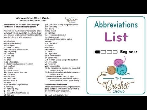 Free Crochet Abbreviations Guide by The Crochet Crowd