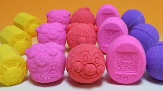 getlinkyoutube.com-びっくらたまご×15 妖怪ウォッチおみくじ入浴剤 アンパンマン 仮面ライダードライブ たまごっち4U プリキュア バスボール Anpanman Bath ball Surprise eggs