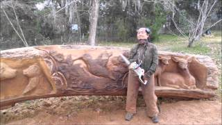getlinkyoutube.com-Aya Blaine,  Chainsaw carving Artist, the James Log Project