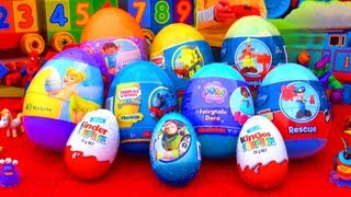 getlinkyoutube.com-10 Surprise Eggs Unboxing Kinder Surprise Dora The Explorer Toy Story Mickey Mouse Thomas Easter!