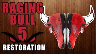 getlinkyoutube.com-Restorations with Vick - Raging Bulls 5 - Suede Redye, Midsole Repaint, Deep cleaning