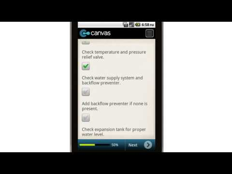 Canvas Hydronic Heating Professional Service Checklist Mobile App