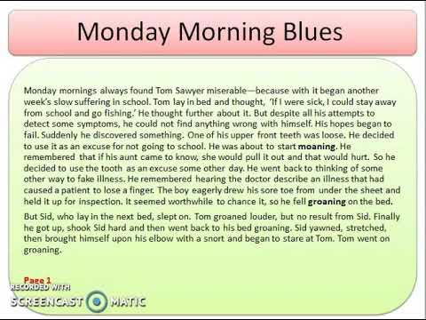 English (Reader Book) Unit 1 L- Monday Morning Blues
