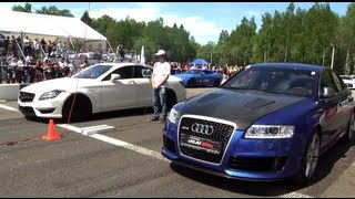getlinkyoutube.com-Audi RS6 Gorilla Racing vs CLS 63 AMG vs Gallardo TT Total Race vs 911 Turbo