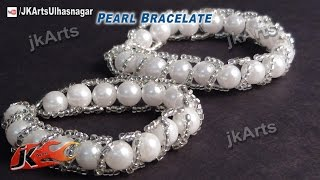 getlinkyoutube.com-DIY Pearl Bracelet |  How to make  (Jewelry Making) - JK Arts 428