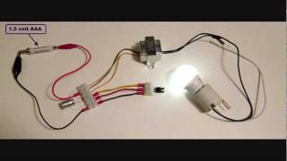 getlinkyoutube.com-Joule thief with 120 VAC LED bulb - part 3