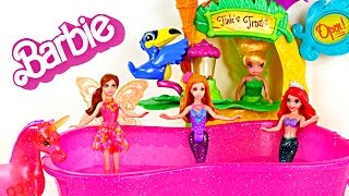 getlinkyoutube.com-Barbie Meets Tinker Bell! 3 Barbie and The Secret Door Toy Doll Figurines! Mini Mermaids & Ariel